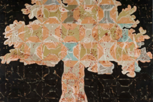 Francesco Clemente, Tree of Life, 2013-14, tecnica mista su tela. Collezione privata. Dalla mostra Fiori d'inverno a New York, Complesso museale di Santa Maria della Scala, Siena, 2016.
